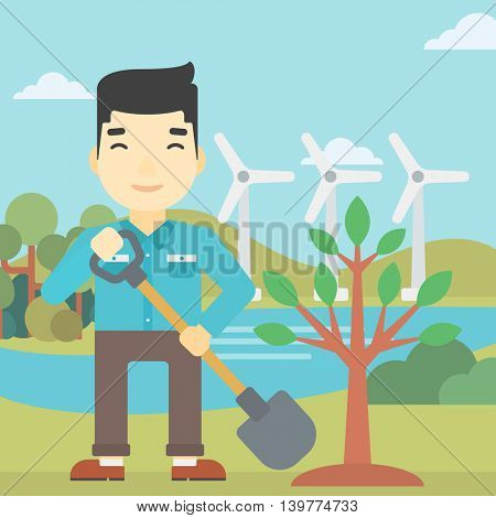 An asian young man plants a tree. Man standing with shovel near newly planted tree. Man planting tree on a background of wind turbines. Vector flat design illustration. Square layout.