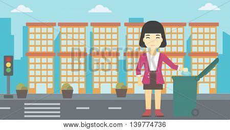 An asian young woman throwing away a garbage in a green trash in the city. Woman throwing away trash. Eco-friendly woman throwing trash. Vector flat design illustration. Horizontal layout.