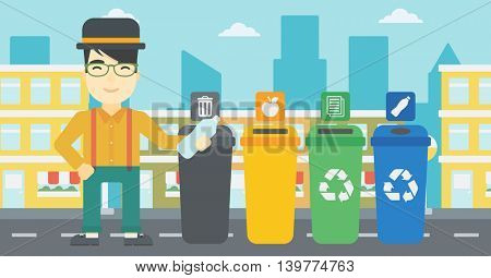 An asian young man throwing away plastic bottle. Man standing near four bins in the city and throwing away plastic bottle in an appropriate bin. Vector flat design illustration. Horizontal layout.