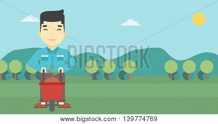 An asian young man standing with a plant and soil in a wheelbarrow on the background of mountain landscape. Vector flat design illustration. Horizontal layout.