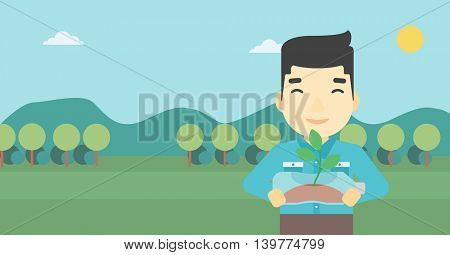 An asian young man holding in hands plastic bottle with plant growing inside. Man holding plastic bottle used as plant pot. Recycling concept. Vector flat design illustration. Horizontal layout.