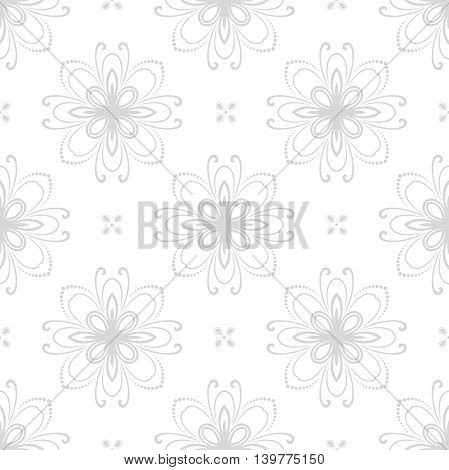 Floral vector ornament. Seamless abstract classic pattern with flowers. Light silver pattern