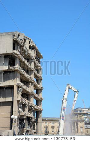 BIRMINGHAM, UNITED KINGDOM - JUNE 6, 2016 - Demolition of the old Birmingham Central Library Birmingham England UK Western Europe, June 6, 2016.