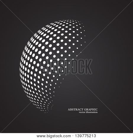Abstract globe dotted sphere 3d halftone dot effect. White color black background. Vector illustration.
