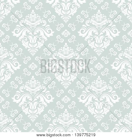 Elegant vector classic pattern. Seamless abstract background with repeating elements. Light blue and white pattern
