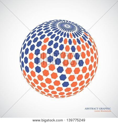 Abstract globe sphere 3d hexagon effect. Red blue colors white background. Vector illustration.