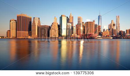 New York skyline at sunrise nobody USA