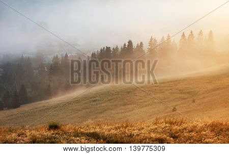 Landscape of valley at a sunset in Slovakia
