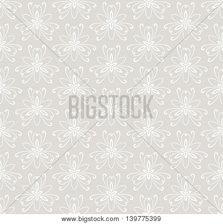 Floral vector light ornament. Seamless abstract classic pattern with flowers