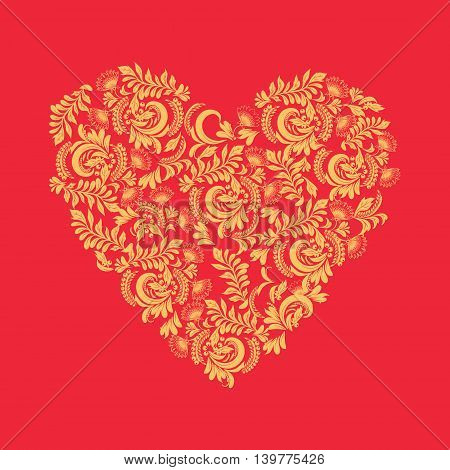 Vector Floral background in heart shape decorative ornaments love concept. Can be used for cards invitations fabrics wallpapers ornamental template for design and decoration