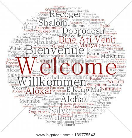 Vector concept abstract round welcome or greeting international word cloud in different languages or multilingual isolated