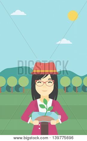 An asian young woman holding in hands plastic bottle with plant growing inside. Man holding plastic bottle used as plant pot. Recycling concept. Vector flat design illustration. Vertical layout.