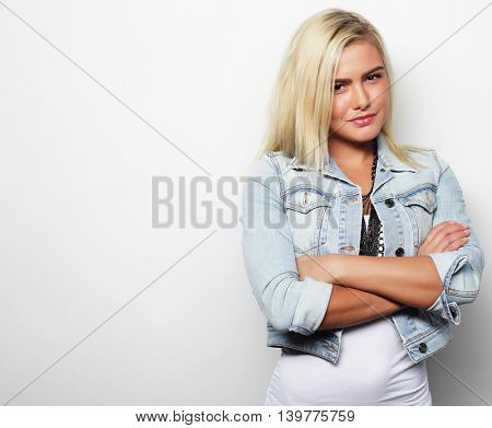 Young   smiling girl on white background