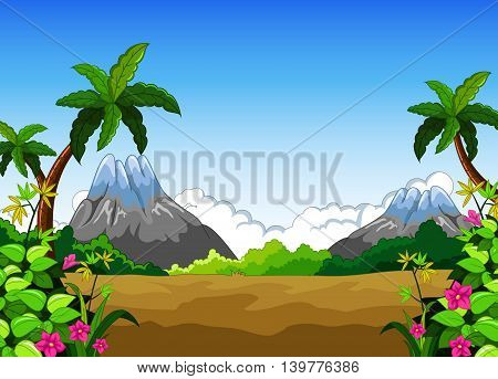 beauty landscape with mountain background for you design
