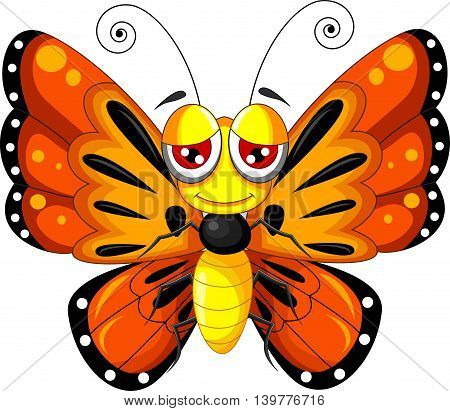 funny butterfly cartoon flying for you design