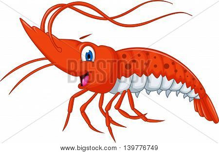 Cute shrimp cartoon smiling for you design