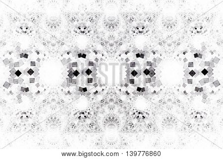 Silver ornament. Abstract symmetric monochrome grunge background. Fantasy vintage fractal texture in grey black and white colors. Digital art. 3D rendering.