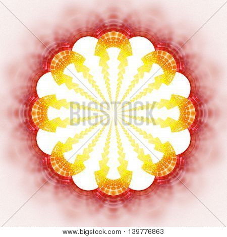 Abstract flower mandala on white background. Symmetrical pattern in red orange and yellow colors. Fantasy fractal design for posters postcards wallpapers or t-shirts. Digital art. 3D rendering.