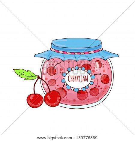 Cute cartoon jar with cherry jam on white background.