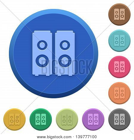 Set of round color embossed speakers buttons
