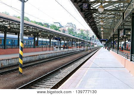 PRAGUE, CZECH REPUBLIC - JUNE 16, 2016: Central railway station in Prague