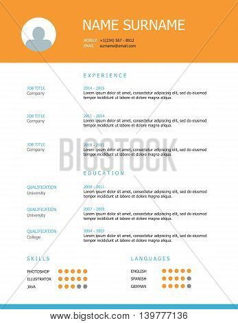 Professional simple styled resume template design with orange and blue headings.