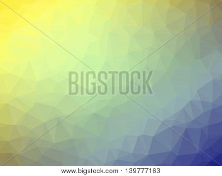 Abstract yellow blue gradient low polygon shaped background.
