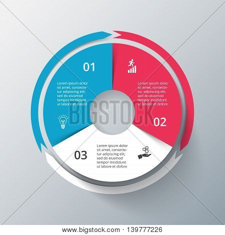 Vector infographic design template. Business concept with 3 options, parts, steps or processes. Can be used for workflow layout, diagram, number options, web design. Data visualization.