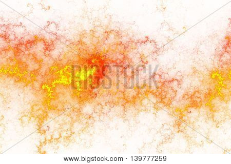 Fiery splash. Abstract flames on white background. Fantasy fractal texture in white orange and yellow colors. Digital art. 3D rendering.