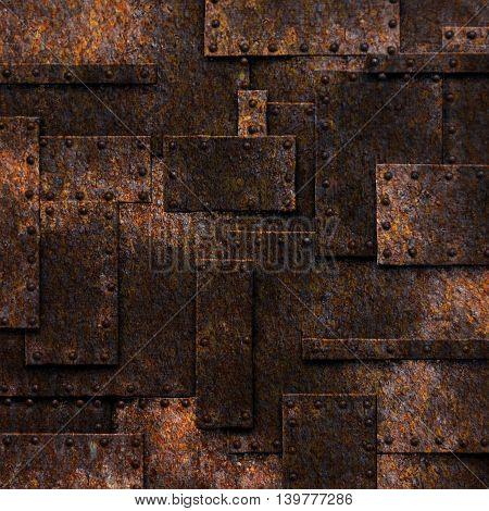 rusty fix wall. grunge metal background. 3d illustration.