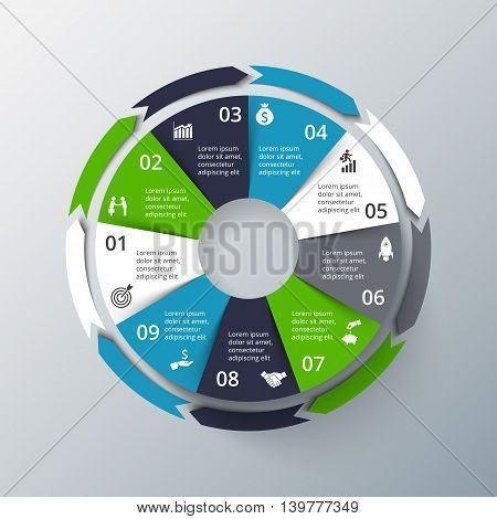 Vector infographic design template. Business concept with 9 options, parts, steps or processes. Can be used for workflow layout, diagram, number options, web design. Data visualization.