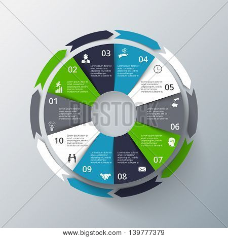 Vector infographic design template. Business concept with 10 options, parts, steps or processes. Can be used for workflow layout, diagram, number options, web design. Data visualization.