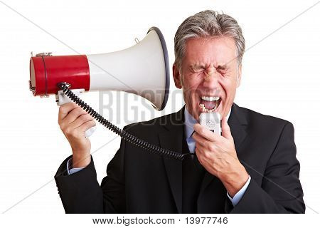 Manager Screaming In Megaphone