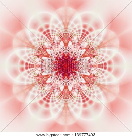 Abstract flower mandala on white background. Symmetrical pattern in light red and pink colors. Fantasy fractal design for postcards wallpapers posters or t-shirts. Digital art. 3D rendering.