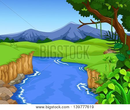 green forest for you design with river