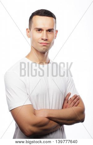 life style and people concept: handsome man wearing white t-shir