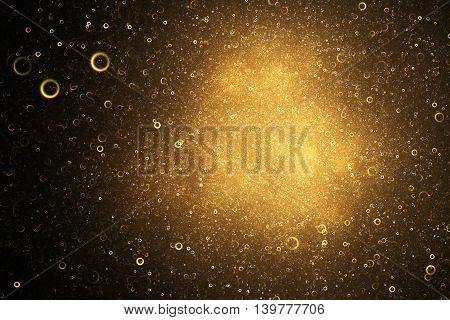Fiery sparks in the night sky. Abstract golden glitter background. Fantasy vintage fractal texture in black orange and yellow colors. 3D rendering.