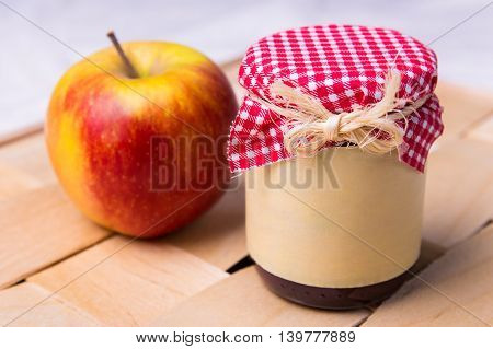 Close Up Of Jar Of  Apple Jam