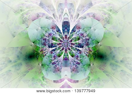 Abstract glowing flower on white background. Symmetrical pattern in green blue and purple colors. Fractal design for posters postcards wallpapers or t-shirts. Digital art. 3D rendering.