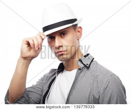 Handsome young man with  hat