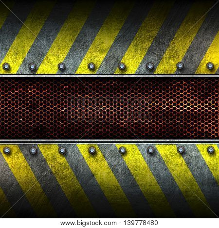 grunge metal and rust mesh with yellow painted. 3d illustration. background and texture.