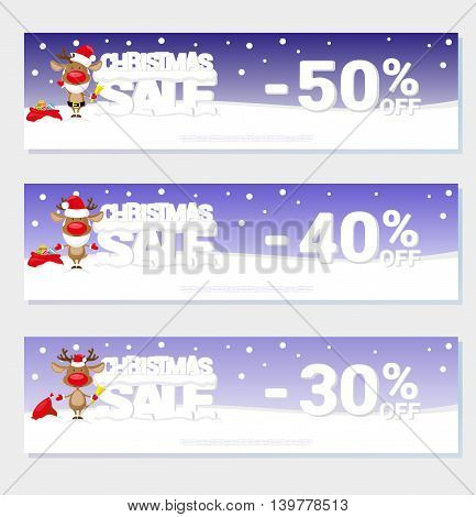 Poster Christmas sale with funny Santa's Deer and text from big letters on snow. For design price label or web sites banner. Cartoon style. Vector illustration