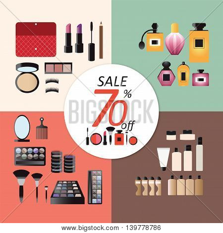 Discount sale Makeup design concept set with eye shadows cosmetic basesperfume tools and skincare flat icons vector illustration.