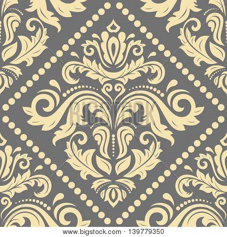 Seamless damask vector pattern. Traditional classic orient ornament. Gray and golden pattern