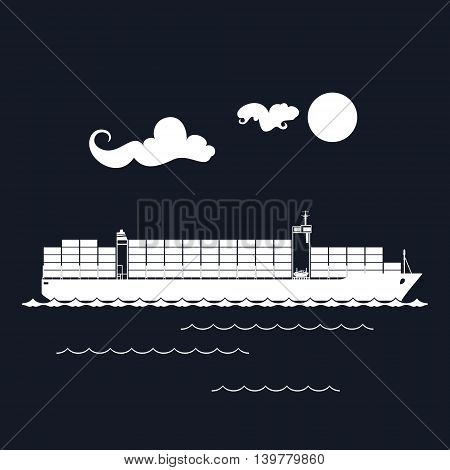 Cargo Container Ship Isolated on Black Background, Industrial Marine Vessel with Containers on Board ,International Freight Transportation ,Vector Illustration