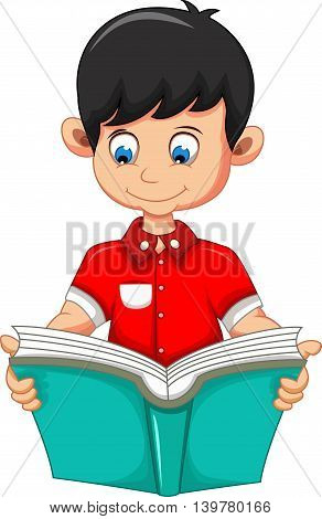 boy cartoon reading book for you design