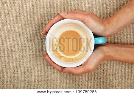 Two Woman Hands Holding Cappuccino Coffee Cup
