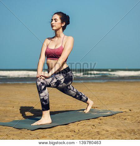 Beautiful Woman Yoga Beach Morning Concept