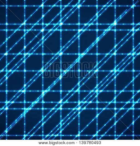 Abstract background with glowing rays intersecting. Technology design