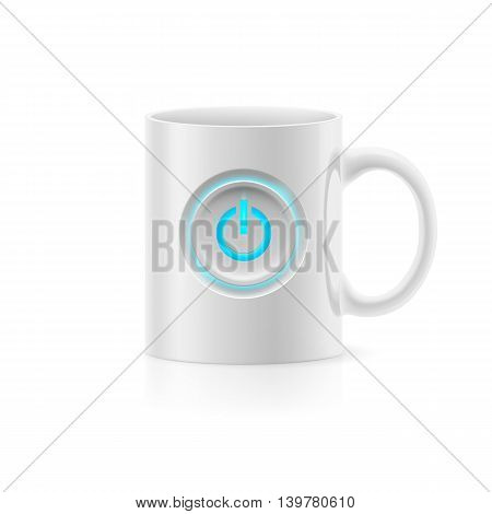 White cup with picture switch on white background